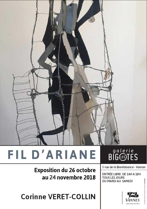 Fil d'Arianne, Corinne Veret-Collin, exposition à la galerie Les Bigotes à Vannes.
